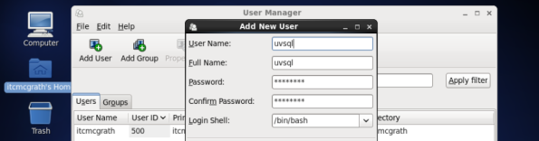 Create uvsql user